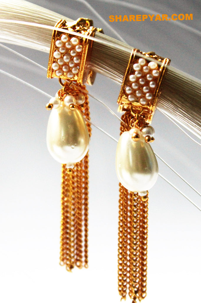 Pearl Hoop Earrings with Golden Tassel - Jewellery - SharePyar