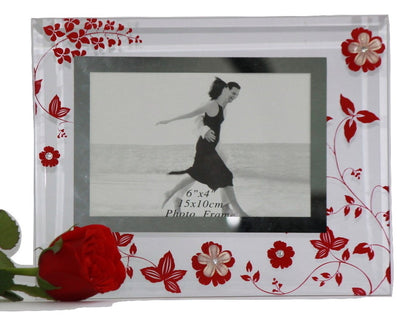 Glass Photo Frame ( Red flower Pattern ) - 6X4 inches - Photo Frames - SharePyar