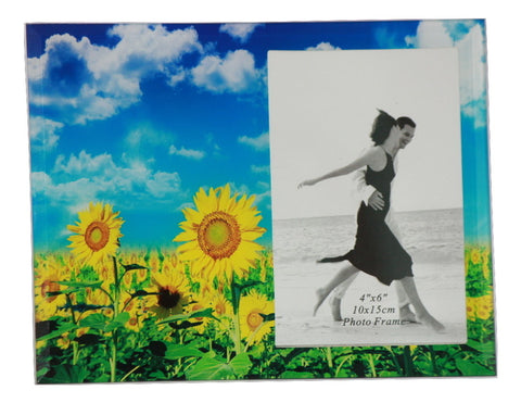 Photo Frame Glass (4X6 inch) Sunflower in a sunny day background - SharePyar - 1