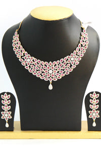 Pink American Diamond Necklace Set - Jewellery - SharePyar