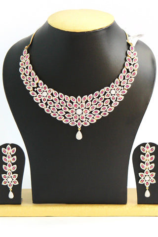 Pink American Diamond Necklace Set - SharePyar - 1