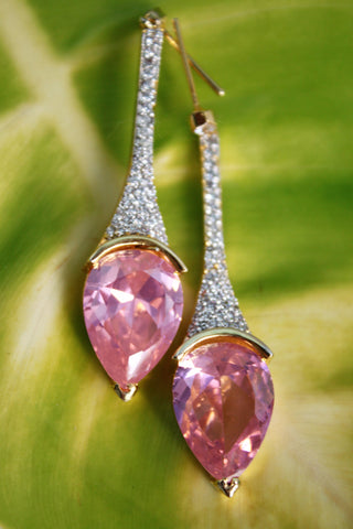 Pink CZ Dangle Earrings - SharePyar - 1