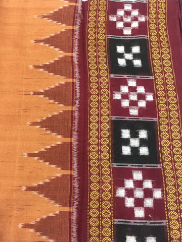 Plain Sambalpuri Saree, Sapta Temple Border - SharePyar - 1