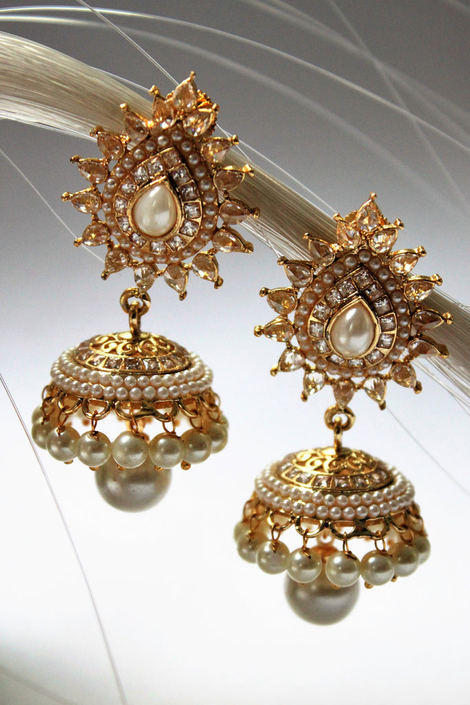 Polki Pearl Traditional Jhumka - SharePyar - 4