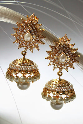 Polki Pearl Traditional Jhumka - Jewellery - SharePyar