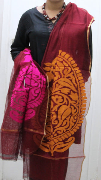 Pure Handloom Net Dupatta, Dual Colour Flower Pattern - SharePyar - 1