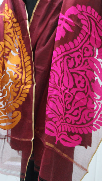 Pure Handloom Net Dupatta, Dual Colour Flower Pattern - SharePyar - 3