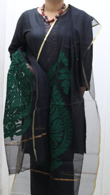 Handloom Net Dupatta, Black/Green, Golden Zari Border - Dupatta and Stoles - SharePyar