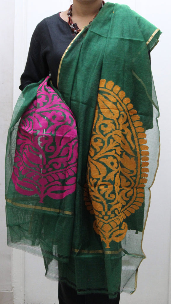 Pure Handloom Net Dupatta, Dual Colour Flower Pattern - SharePyar - 4