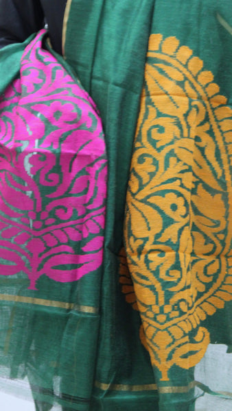 Pure Handloom Net Dupatta, Dual Colour Flower Pattern - SharePyar - 2