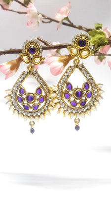 Purple Pearl Polki Chandelier Earrings - Jewellery - SharePyar
