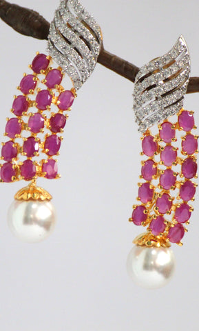 Radiant Gold Plated American Diamond Earrings, Pink - SharePyar - 1