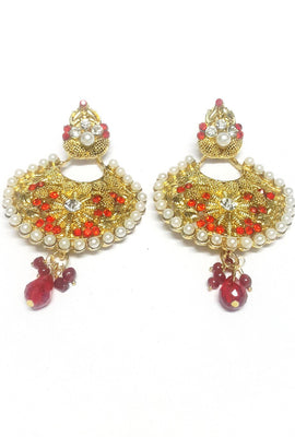 Red Costume Jewellery Drop Earrings - Jewellery - SharePyar