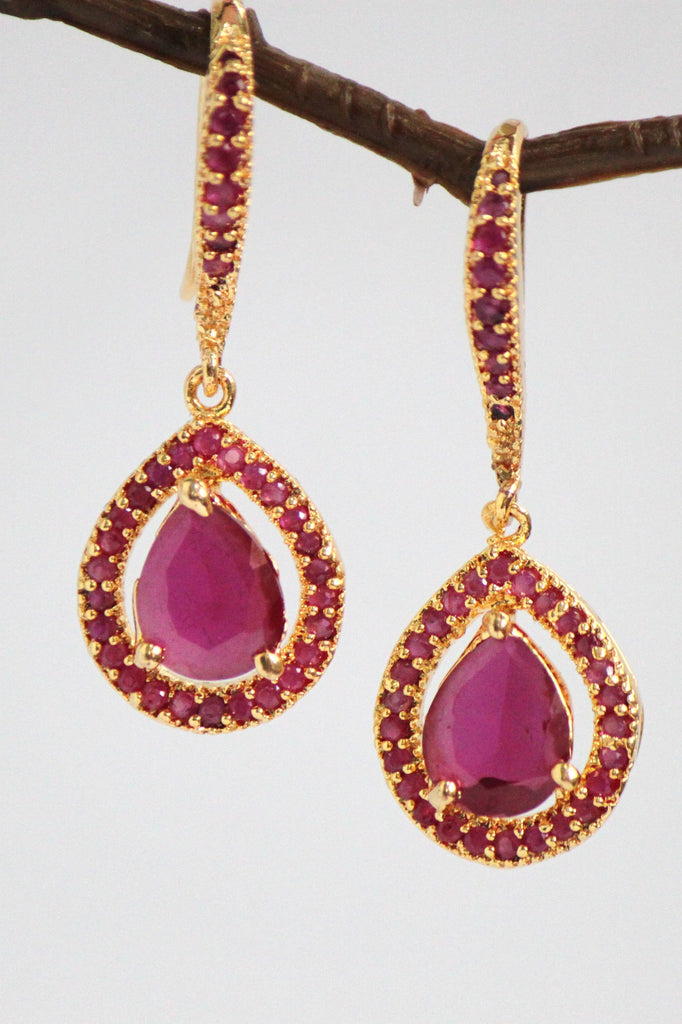 Red Cubic Zirconia Tear Drop Earrings - Jewellery - SharePyar