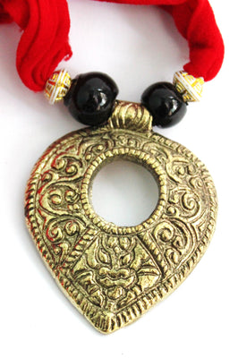 Red Dhokra Statement Necklace Set - Dhokra Jewellery - SharePyar