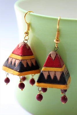 Red and Black Pyramid Terracotta Jhumki - Jewellery - SharePyar