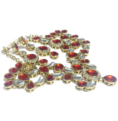 Red and White Kundan Necklace Set with Mang Tika - Jewellery - SharePyar