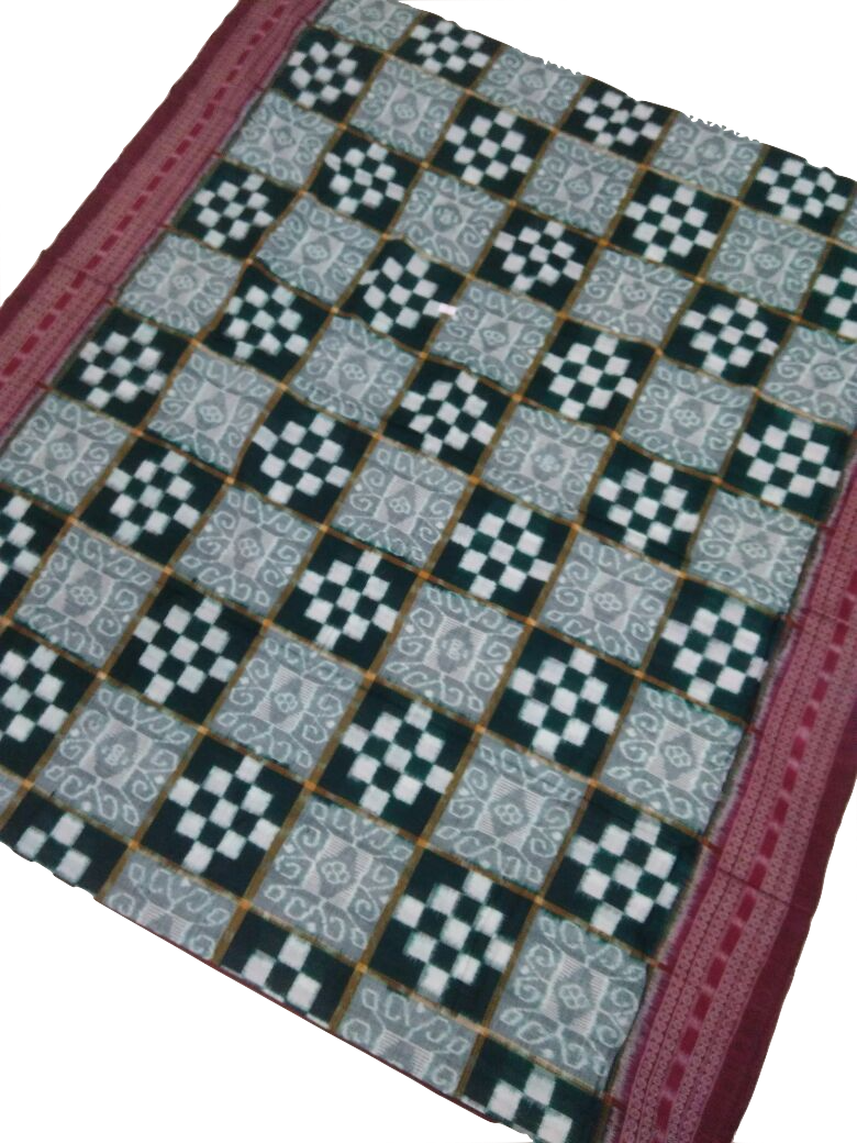 Sambalpuri Double Ikkat Pasapalli Cotton Saree