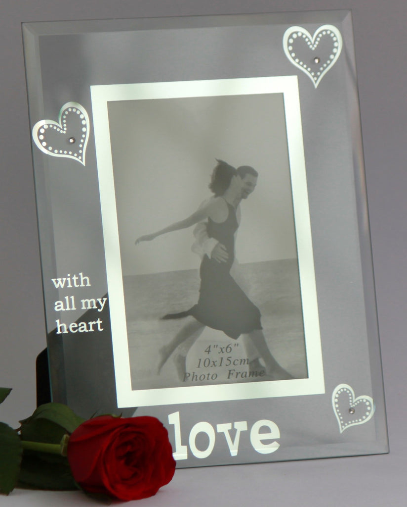 Photo Frame Glass 4X6 inch (10X15 cm) - LOVE with all my heart - Photo Frames - SharePyar