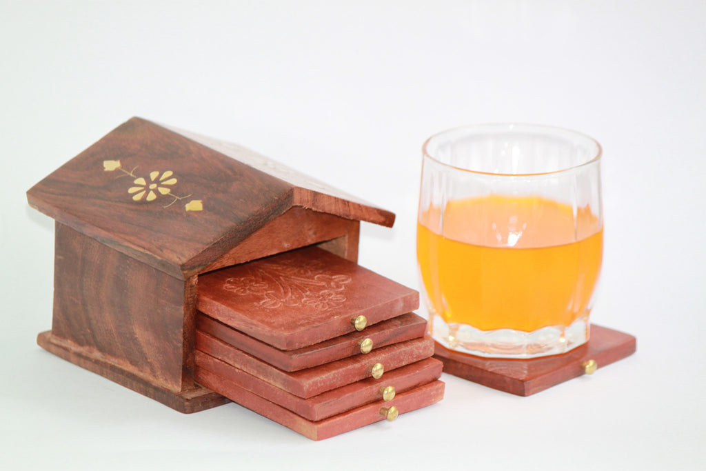Wooden Handmade Coaster Set - SharePyar - 1