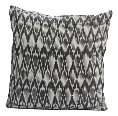 SharePyar Handloom Cushion Cover -  Ikat Chevron Pattern Black & White (Pure cotton yarn dyed)- 16 x 16 Inch - Set of Two - Cushion Covers - SharePyar