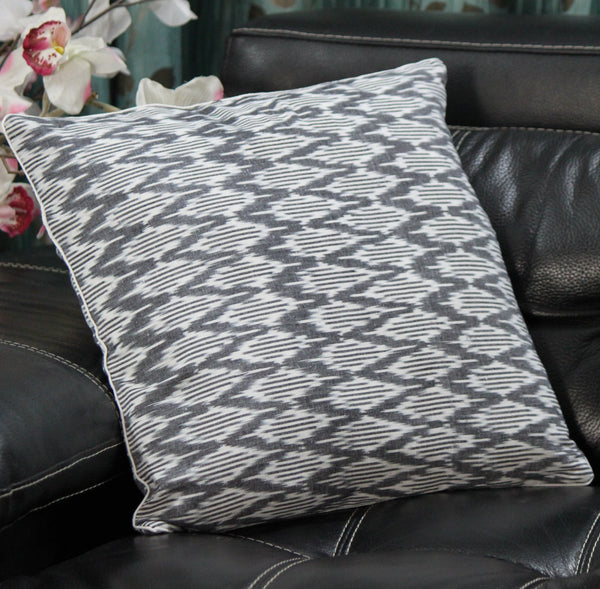 SharePyar Handloom Cushion Cover -  Ikat Chevron Pattern Black & White (Pure cotton yarn dyed)- 16 x 16 Inch - Set of Two - SharePyar - 2