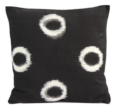 SharePyar Handloom Cushion Cover - Ikat White Circles in Black (Pure cotton yarn dyed) - 16 x 16 Inch - Set of Two - Cushion Covers - SharePyar