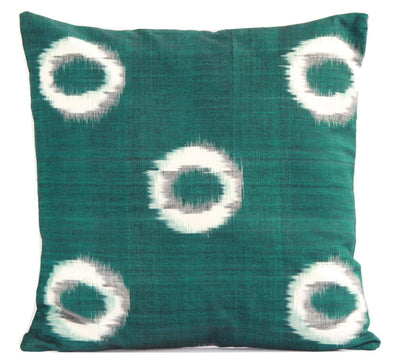 SharePyar Handloom Cushion Cover - Ikat White Circles in Green (Pure cotton yarn dyed) - 16 x 16 Inch - Set of Two - Cushion Covers - SharePyar