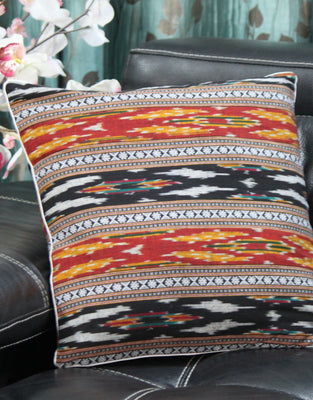 SharePyar Handloom Cushion Cover - Red-Black Traditional Sambalpuri Ikat (Pure cotton yarn dyed) - 16 x 16 Inch - Set of Two - Cushion Covers - SharePyar