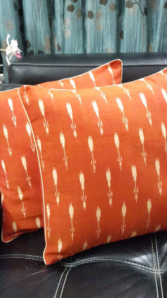 SharePyar Handloom Cushion Cover - Ikat Arrow Pattern Orange (Pure cotton yarn dyed)- 16 x 16 Inch - Set of Two - SharePyar