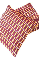 SharePyar Handloom Cushion Cover - Ikat Belan Pattern Maroon - 16 x 16 Inch - Set of Two
