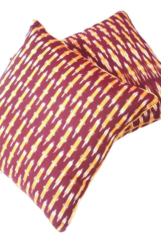 SharePyar Handloom Cushion Cover - Ikat Belan Pattern Maroon - 16 x 16 Inch - Set of Two - SharePyar - 1