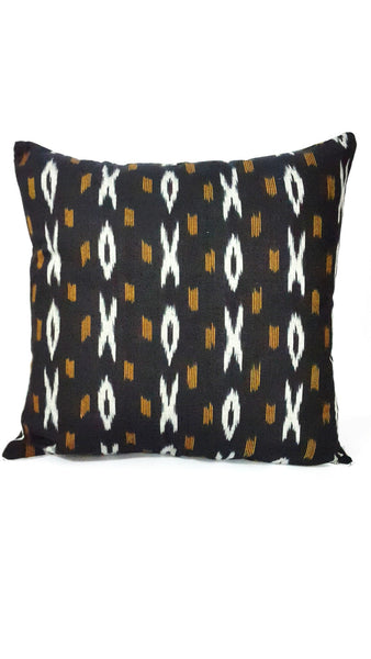 SharePyar Handloom Cushion Cover - Ikat Black - 16 x 16 Inch - Set of Two - SharePyar - 2