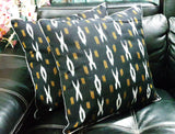 SharePyar Handloom Cushion Cover - Ikat Black - 16 x 16 Inch - Set of Two - Cushion Covers - SharePyar
