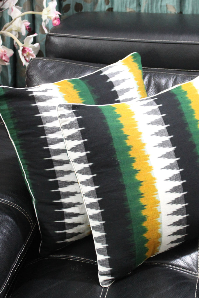 SharePyar Handloom Cushion Cover - Ikat Black White with Yellow Green Temple Pattern - 16 x 16 Inch - Set of Two - Cushion Covers - SharePyar