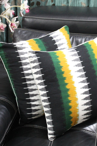 SharePyar Handloom Cushion Cover - Ikat Black White with Yellow Green Temple Pattern - 16 x 16 Inch - Set of Two - SharePyar - 1
