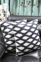 SharePyar Handloom Cushion Cover - Ikat Chevron Pattern in Black & Grey - 16 x 16 Inch - Set of Two