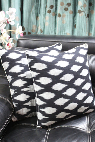 SharePyar Handloom Cushion Cover - Ikat Chevron Pattern in Black & Grey - 16 x 16 Inch - Set of Two - SharePyar - 1