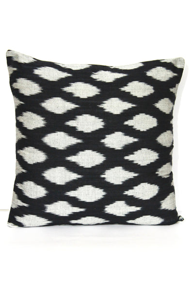 SharePyar Handloom Cushion Cover - Ikat Chevron Pattern in Black & Grey - 16 x 16 Inch - Set of Two - SharePyar - 3