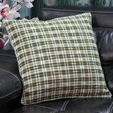 SharePyar Handloom Cushion Cover - Ikat Green & Orange line Pattern (Pure cotton yarn dyed) - 16 x 16 Inch - Set of Two - Cushion Covers - SharePyar