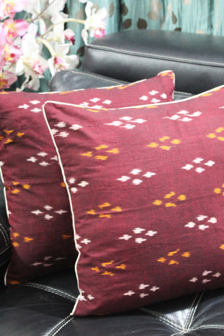 SharePyar Handloom Cushion Cover - Ikat Maroon - 16 x 16 Inch - Set of Two - SharePyar - 1