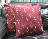 SharePyar Handloom Cushion Cover - Ikat Maroon - 16 x 16 Inch - Set of Two - Cushion Covers - SharePyar