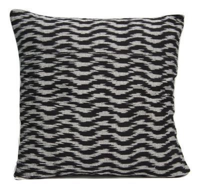 SharePyar Handloom Cushion Cover -  Ikat Wavy Pattern Black & White - 16 x 16 Inch - Set of Two - Cushion Covers - SharePyar