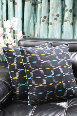SharePyar Handloom Cushion Cover - Ikat Yellow_Blue Pattern - 16 x 16 Inch - Set of Two - Cushion Covers - SharePyar