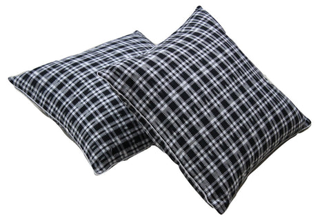 SharePyar Handloom Ikat Cushion Cover - Black and White - 16 x 16 Inch - Set of Two - SharePyar - 1