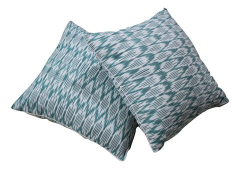 SharePyar Handloom Ikat Cushion Cover - Chevron Green and White - 16 x 16 Inch - Set of Two - Cushion Covers - SharePyar