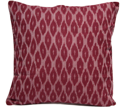SharePyar Handloom Ikat Cushion Cover -  Maroon - 16 x 16 Inch - Set of Two - Cushion Covers - SharePyar