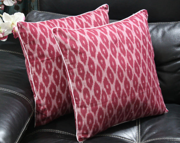 SharePyar Handloom Ikat Cushion Cover -  Maroon - 16 x 16 Inch - Set of Two - SharePyar - 2