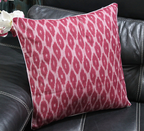 SharePyar Handloom Ikat Cushion Cover -  Maroon - 16 x 16 Inch - Set of Two - SharePyar - 3