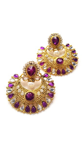Stone Studded Ramleela Earrings, Purple - SharePyar
